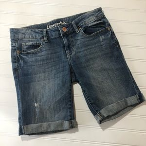 Aeropostale Bermuda Distressed Jean Shorts 4